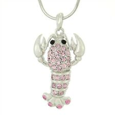 W Swarovski Crystal PINK LOBSTER Crawfish Ocean Beach Sea Necklace Pendant Gift