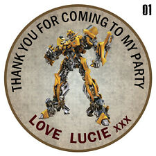 Personalised Transformers Round  50mm x15 Stickers Party Thank You Seals