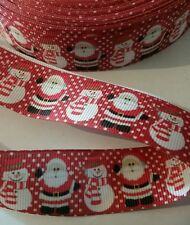 1m g/g ribbon 25mm red santa snowman snow decoration hair bow christmas xmas