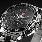 SHARK Silver Stainless Steel Day Date Analog Black Dial Men's Army Sport Watch