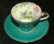 Aynsley Fine Bone China Footed CUP & SAUCER Turquoise Blue Floral Interior