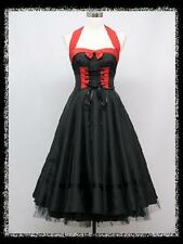 dress190 BLACK & RED 50s HALTER CORSET ROCKABILLY SWING PIN-UP VINTAGE DRESS 18