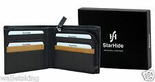 Starhide Mens Luxury Leather Wallet Purse With Secure Zip Coin Pocket 110 Black