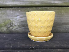 vintage SHAWNEE yellow QUILTED DAISY DIAMOND attached saucer FLOWER POT pottery
