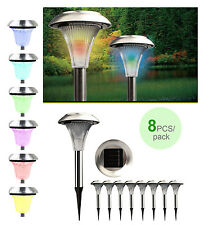 8Pcs Outdoor Stainless Steel Color Changing LED Lights Solar Landscape Path Lamp