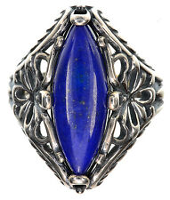 Carolyn Pollack Blue Lapis Gemstone Sterling Silver Ring Size 7