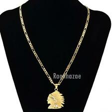 "MENS NATIVE GOLD APACHE FACE PENDANT W 5mm 24"" BRASS FIGARO CHAIN NECKLACE K435G"
