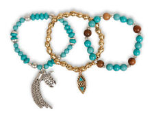 LUCKY BRAND Turtle Tassel Turquoise Bead Two-Tone Set of 3 Stretch Bracelets