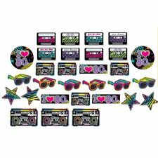 TOTALLY 80S CUT OUTS MULTI COLOURED 80S PARTY CELEBRATION  BIRTHDAY ACESSORIES