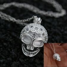Jewelry Fashion 925 silver white zircon Skull necklace pendant 20 inch chain