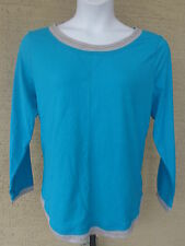 NEW Just  My Size L/S scoop neck Twofer Tee Top turquoise/gray 2X