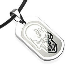 "Biker Shack - Smooth Flame Skull Dog Tag - Pendant Necklace with 18"" PVC Rope"