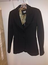 New Dolce & Gabbana D&G Womens Black Pea Coat Jacket Blazer Small XS 36 NWT