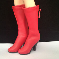 "1/6 scale female red artificial leather combat boots shoes fit 12"" figure toys"