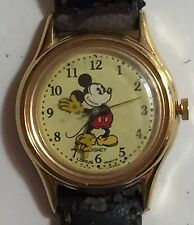 Disney Mickey Mouse Gold Hands Lorus Watch R MF008 With New Battery Works