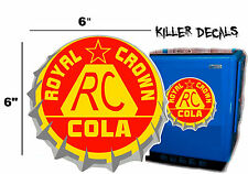 "6""  RC ROYAL CROWN COLA BOTTLE CAP DECAL COOLERS SODA POP MACHINE STYLE 3"