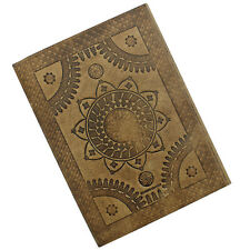 Sacred Lotus Flower Embossed Leather Journal Notebook Diary