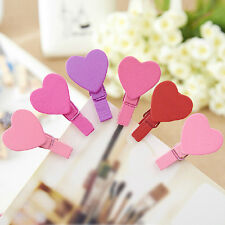 12X Colorful Heart Love Wooden Clothes Photo Paper Peg Pin Clothespin Craft Clip
