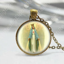 Our Lady of the Miraculous Medal Necklace Catholic Pendant Bronze Virgin Mary