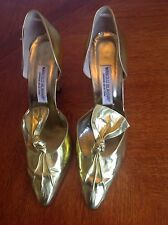 MANOLO BLAHNIK Gold Metallic Leather d'Orsay Shoes Pump Heel Bow vintage Sz 40/9