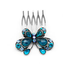 Vintage Style Crystal Blue Butterfly Medium Hair Comb Accessories HA40