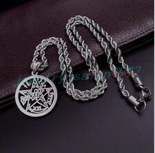 Religious Jewelry Stainless Steel Wicca Pentagram Pentacle Pendant Rope Necklace