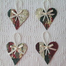 AB01 Heart Ornaments Upcycled from Modern Unfinished Quilt Project OOAK Holiday