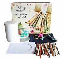 HOUSE OF CRAFTS LACE MAKING CRAFT KIT GIFT SET BOBBINS WIRE PILLOW BEADS FABRIC