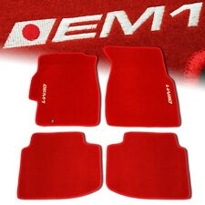 96-00 HONDA CIVIC EM1 CUSTOM FIT FLOOR MATS NON SKID CARPET SET KIT 4 PC RED