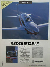4/1990 PUB SOCATA AEROSPATIALE AVION OMEGA AIRCRAFT MILITARY TRAINER ORIGINAL AD