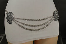 Women Antique Silver Metal Chains Ethnic Moroccan Style Coin Fashion Belt XS S M