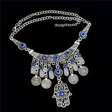 Gypsy Bohemian Vintage Ethnic Tribal Boho Coin Statement Necklace Pendant Charm