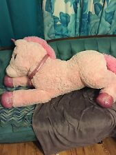 Giant Floppy Super Plush Sparkly Unicorn With Iridescent Hooves And Horn