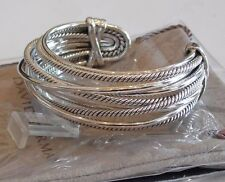 David Yurman New Crossover Wide Cuff Sterling Silver Cable Bracelet $1450
