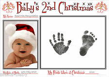 A4 Baby's Second Christmas Hand Prints Footprints Kit Babys 2nd Xmas Gift