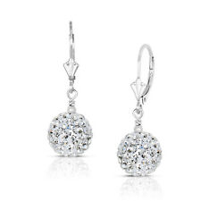 14k White Gold 10mm Crystal Pave Accent Disco Ball Drop  Leaverback Earrings