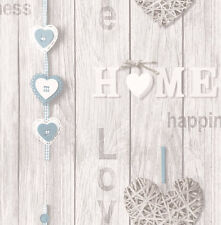 Love Your Home Blue/White Wood Panel Effect Shabby Chic Wallpaper (FD41719)