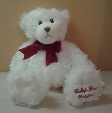 First Impressions Teddy Bear White Plush Baby's First Christmas 13""
