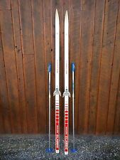 "Ready to Use Cross Country 75"" GERMINA 195 cm Skis WAXLESS Base +  Poles"
