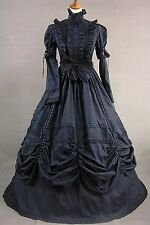 Lady Black Removable Sleeves Cotton Lace High Neck Lolita Dress Cosplay Costume