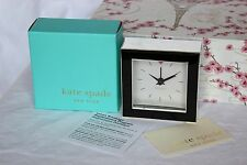 NEW in BOX Black Silver KATE SPADE CROSS POINTE Alarm Desk Travel LENOX Clock