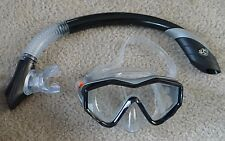 USED U.S. DIVERS Standard gray/black Mask&Snorkel 2pc combo set,Adult -NO CLIP
