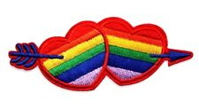 Rainbow Double Love Heart Embroidered Iron Sew On Patch Valentine Badge LGBT