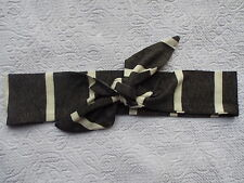 GREY STRIPED JERSEY KNOTTED HEADWRAP HAIR WRAP HEADBAND HEAD BAND TIE LADIES NEW
