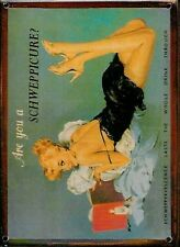SCHWEPPES ARE YOU Small Vintage Metal Tin Pub Sign