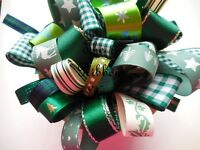 5MM -25MM ASSORTED GREEN CHRISTMAS RIBBON BUNDLE 10 X 1MTR BERISFORDS