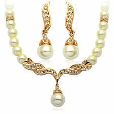 Wedding Bridal Jewellery Set Gold & White Pearl Necklace Earrings UK Seller