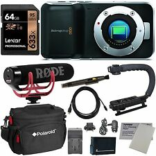 Blackmagic Design Cinema Camera Camcorder + Rode Video Mic GO + Stabilizer NEW