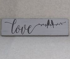 Love Birds on a Wire Rustic Wood Sign Paris Grey | Wedding Decor | Couples Photo