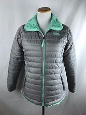 North Face Girls XL (18) Gray Mint Mossbud Swirl Reversible Puffer Jacket - $110